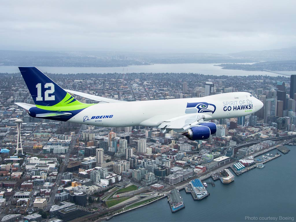 Boeing 747-8 Seattle Seahawks Livery
