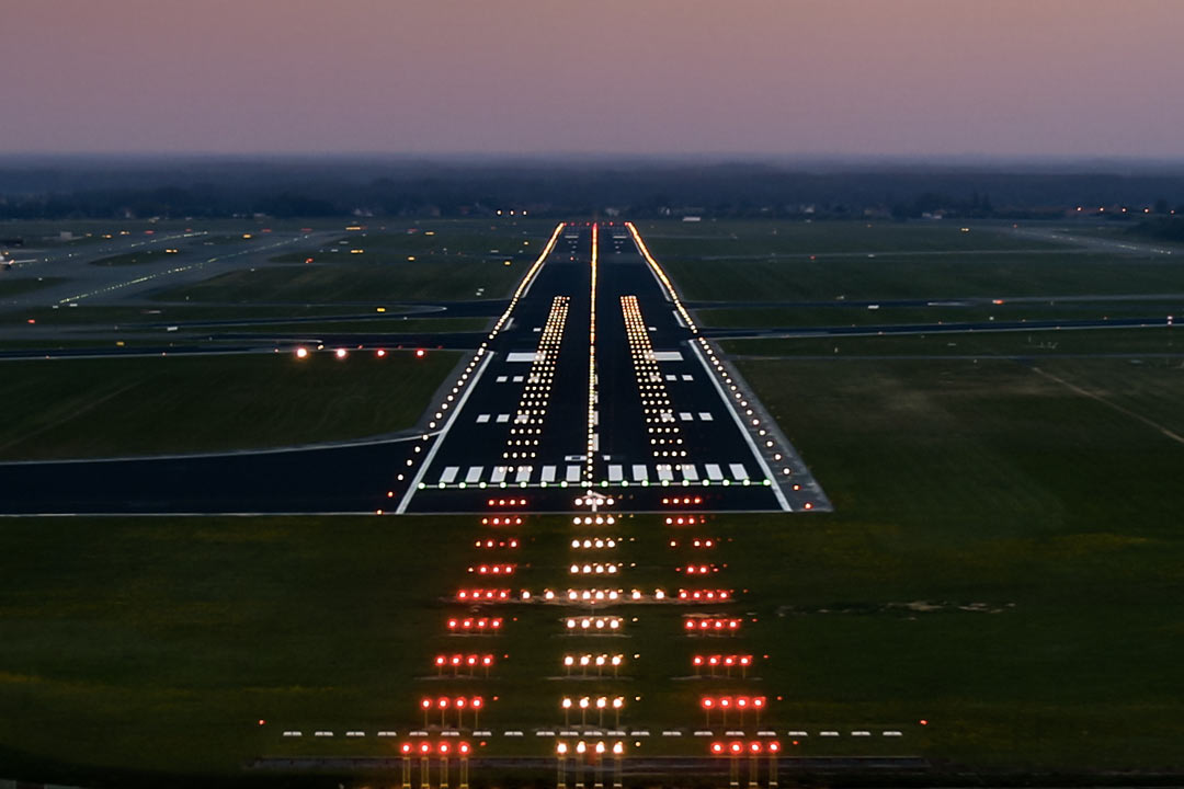Runway lights airport
