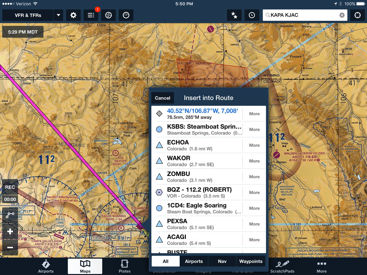 in this case we picked steamboat springs ksbs as an intermediate waypoint it steers us well clear of the tfr and it only adds 4 miles to the route